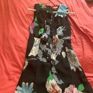 Black floral dress with belt